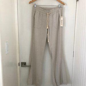 Roxy Size Small Beige Oceanside Pant Linen Blend